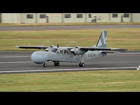 Pilatus Britten-Norman BN-2T Islander ASTOR G-DLRA arrival at RIAT 2017 AirShow