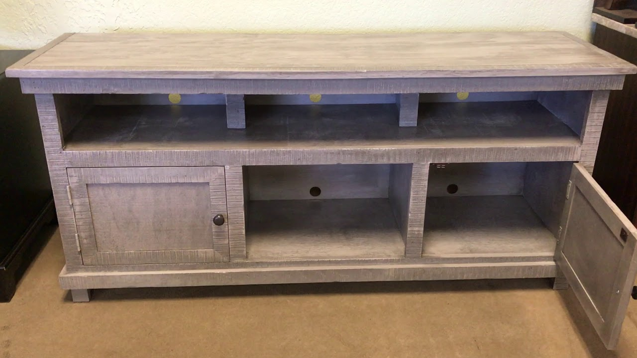 Rustic 60 Long Grey Solid Wood Tv Stand Youtube