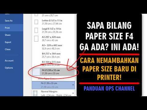 VIDEO TUTORIAL MENAMBAHKAN UKURAN KERTAS F4 PADA PROPERTIS PRINTER.