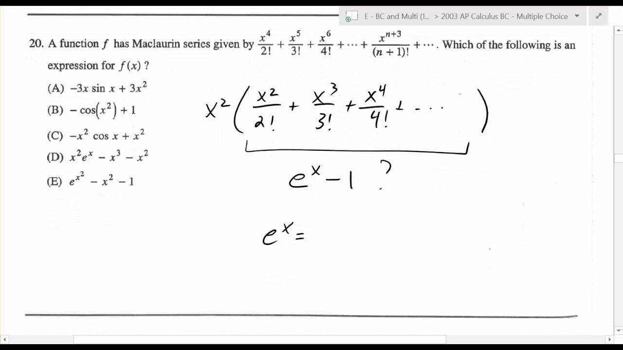 calculus multiple choice 2003