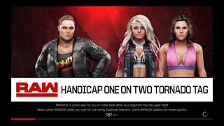 WWE 2K19 Heel Ronda Rousey VS Alexa Bliss,Mickie James 1 VS 2 Handicap Elimination Match