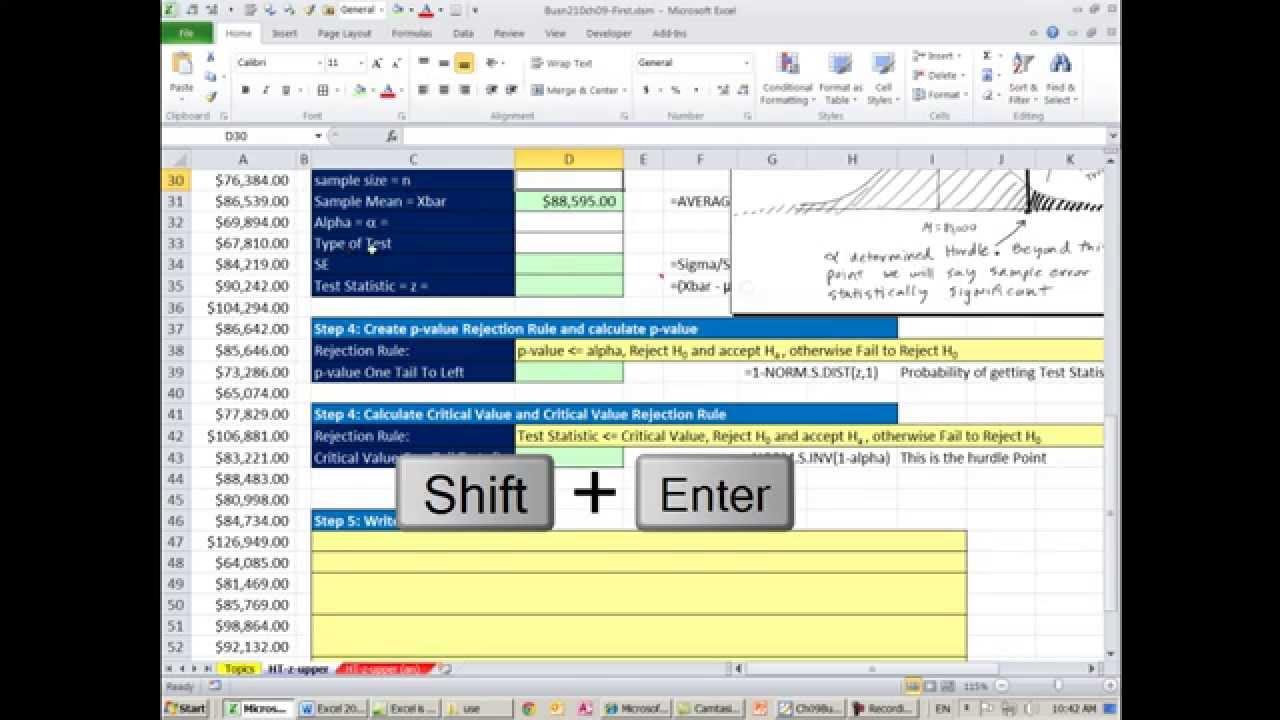 Excel 2013 Statistical Analysis 53 5 Steps Hypothesis Testing P – Hypothesis Testing Worksheet