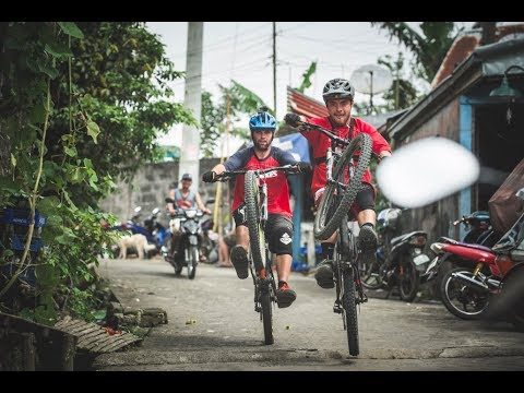 MTB Riders Ben Deakin and Olly Wilkins ride  Taal volcano in Philippines.