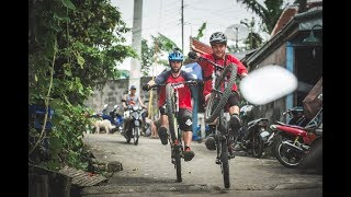 MTB Riders Ben Deakin and Olly Wilkins ride  Taal volcano in Philippines.
