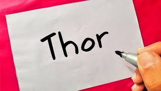 SUPER HEROES - How To Turn Words Thor Into Cartoon - Theakashcreations