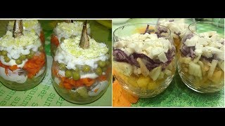 2 салата в стакане. 2 salads in a glass.
