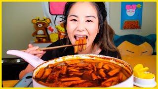 Cooking Mukbang) SPICY BLACK BEAN RICE CAKES l MUKBANG
