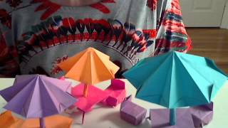 Origami Patio Furnitures - Umbrella, Table. Chair Tutorial By (s. Ma)