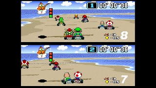 Super Mario Kart SΝES All Cups 150cc 2 player 60fps