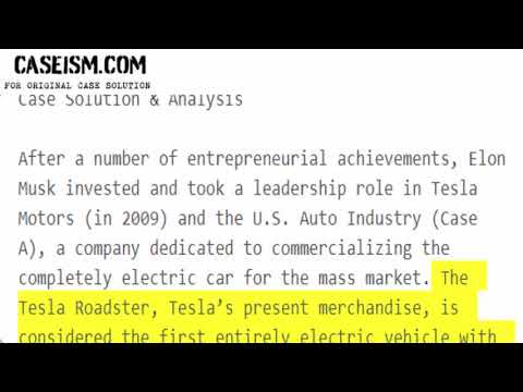 Tesla Motors (in 2009) and the U.S. Auto Industry (Case A) Case Solution & Analysis Caseism.com