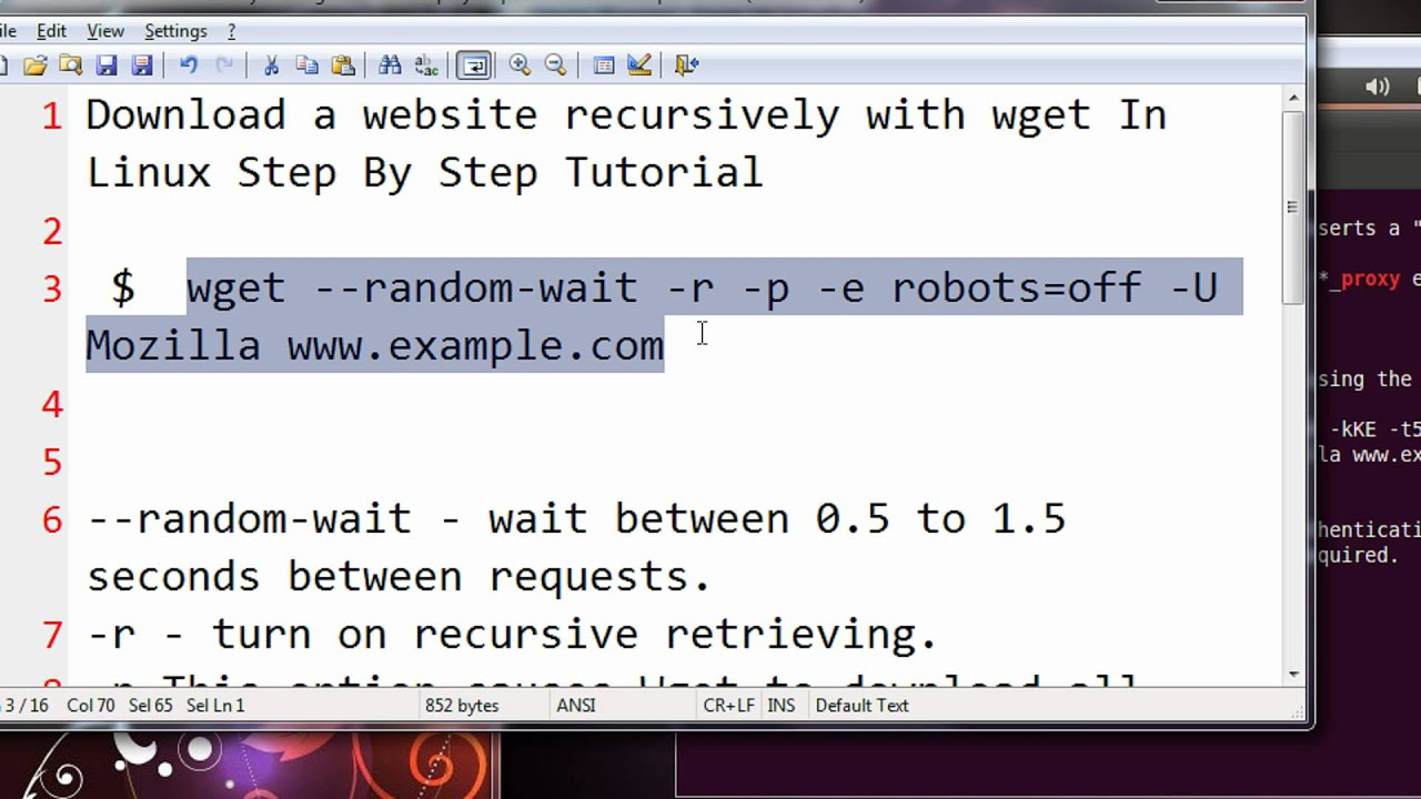 Download a website recursively with wget In Linux Step By Step Tutorial