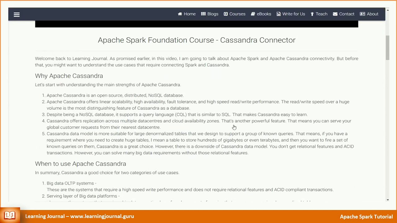 Spark Cassandra Connector - Learning Journal