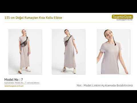 345a8e1c1611d 135 cm Doğal Kumaştan Kısa Kollu Elbise - Tesettür Elbise Modelleri ...