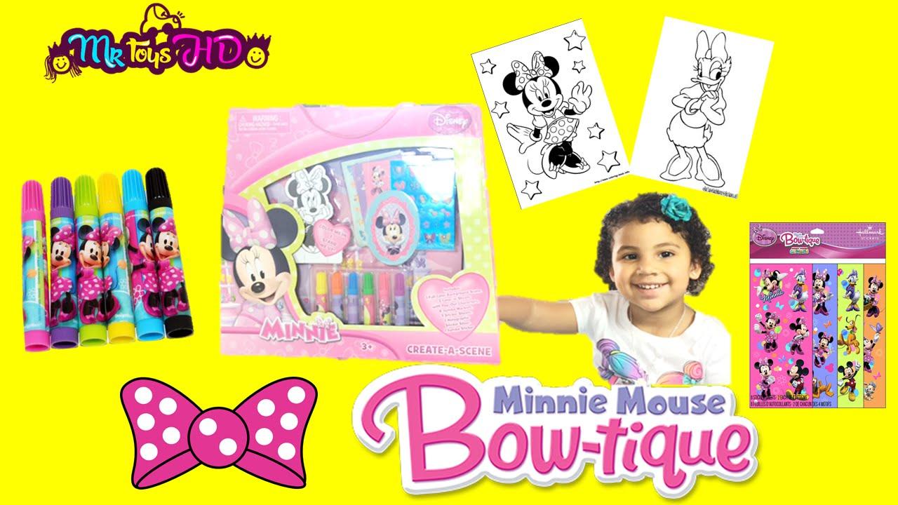 A colorear con Minnie Mouse- Minnie Mouse Create a Scene Disney ...