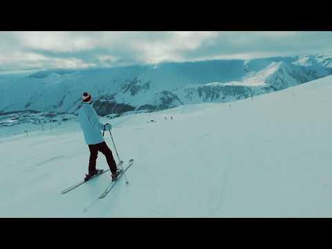 Гудаури 2019 спуск на лыжах с самого верха до самого низа