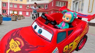 Funny Baby Doll Driving Mcqueen Car after Playing Children's Outdoor Playground - Kidscoco Club Fun