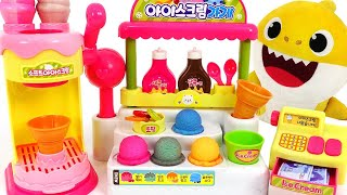 #3 Baby Shark Syrup Ice cream shop play~! Let's make Color Changing Ice cream!   PinkyPopTOY