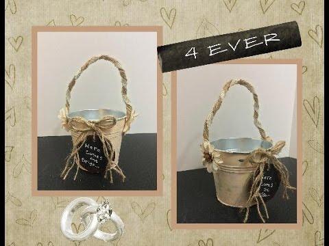 DIY flower girl pail using a 99 cent store item