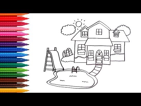 How to draw and coloring House with pool -  learn colors -  Children coloring pages