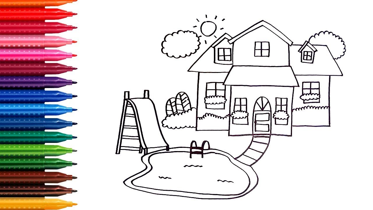 How to draw and coloring House with pool - learn colors - Children ...