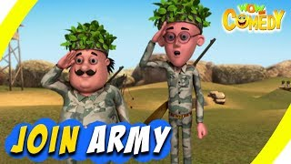 Motu Patlu- EP30B   Join Army   Funny Videos For Kids   Wow Kidz Comedy