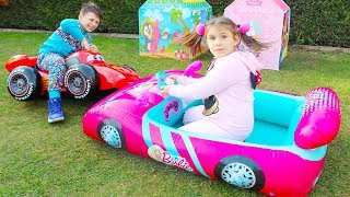 Barbie Car and Mcqueen Inflatable Toy Cars, Ali and Adriana play w/