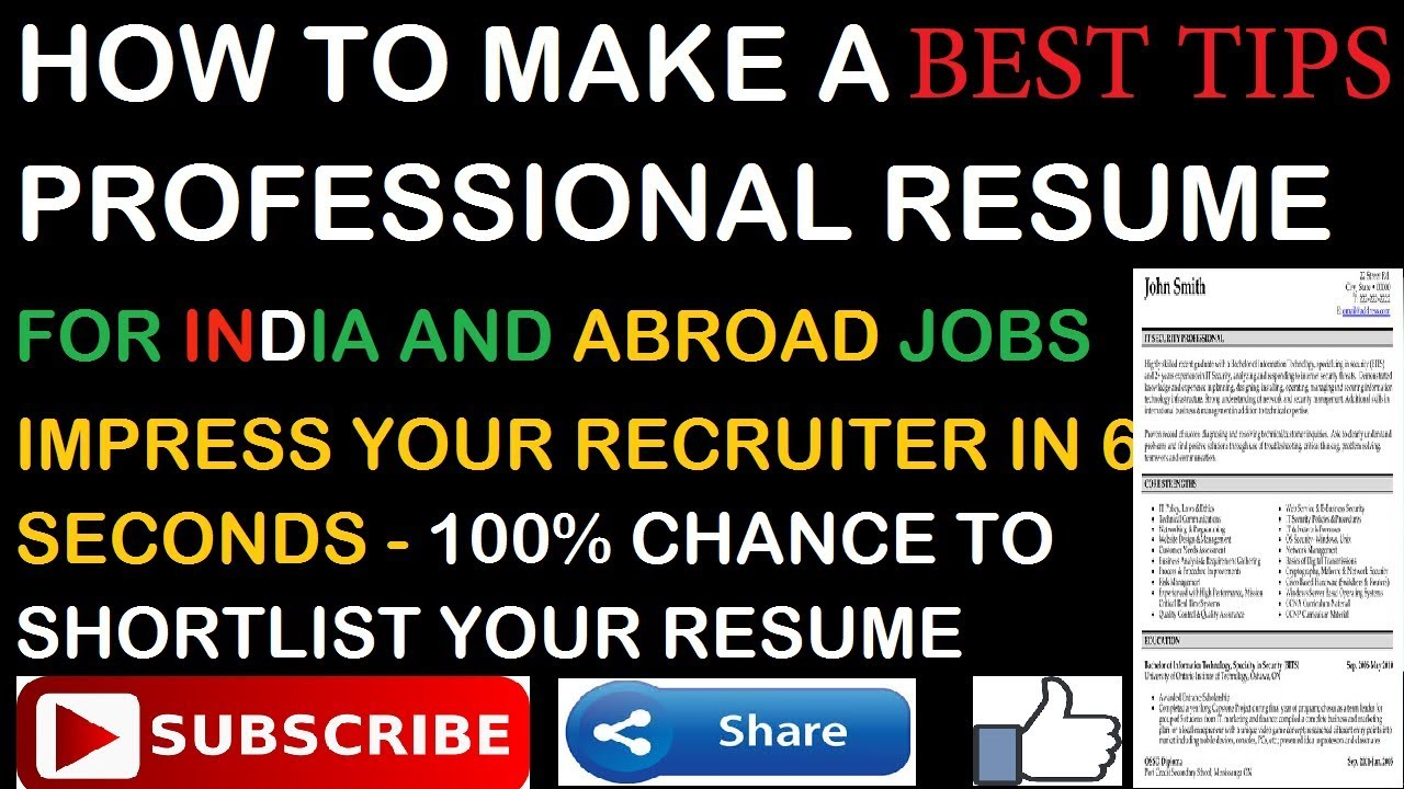how to make professional resume for india and abroad  gulf