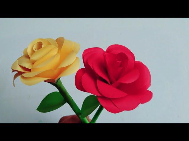 Bunga Mawar Dari Kertas Easy To Make Paper Rose Diy Paper Flower Youtube