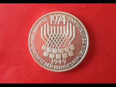 Germany 5 SILVER Mark 1974 - 25th Anniversary - Constitutional Law
