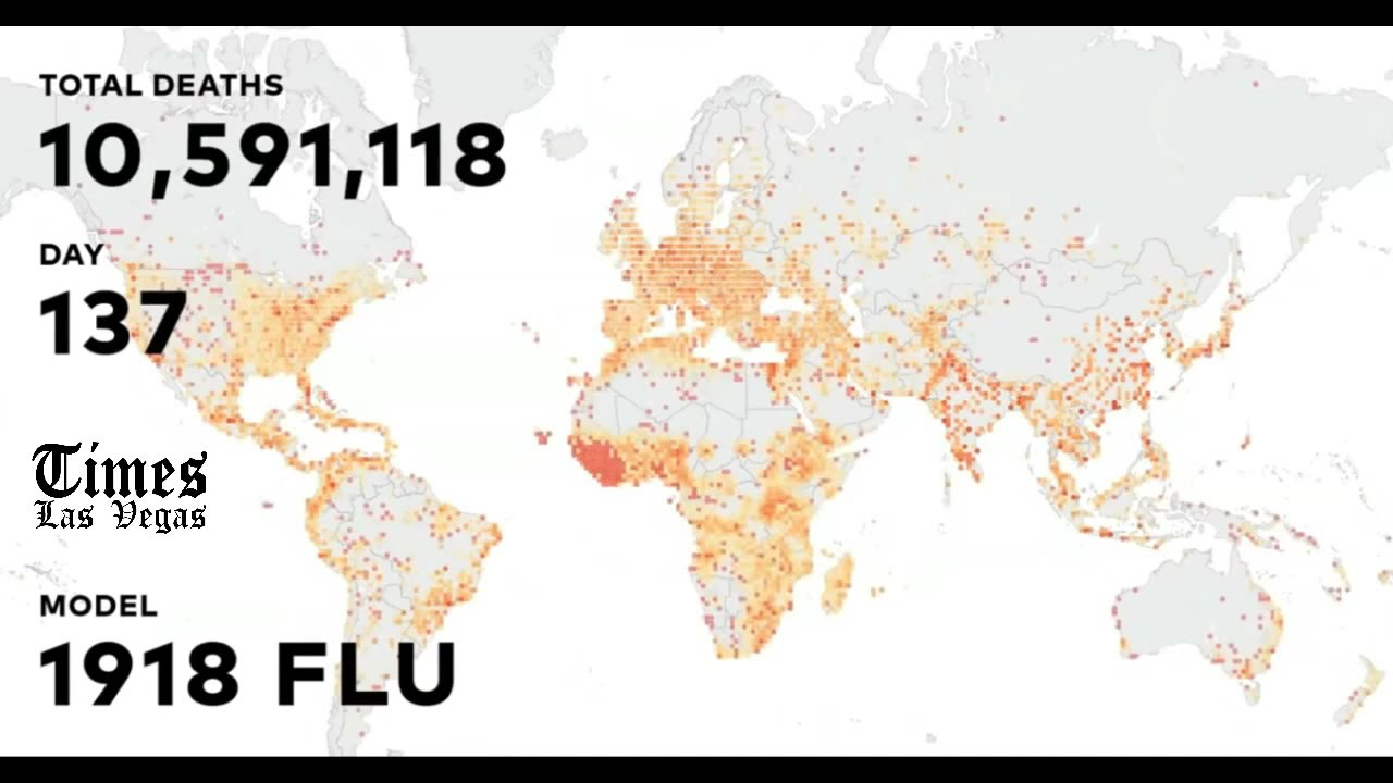 Data Visualization of the 1918 Spanish Flu  - Extracted from Bill Gates Ted Talk on Pandemics