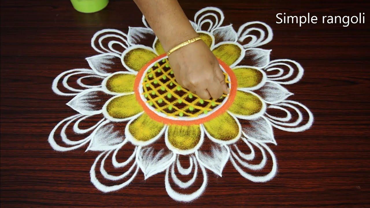 Round Rangoli Art Designs Floral Images