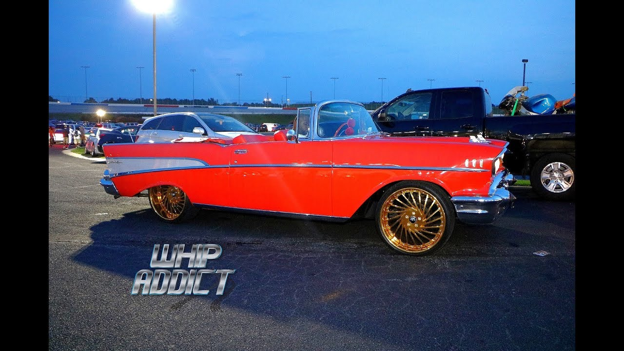 Whipaddict Santas Sleigh 57 Chevy Bel Air Convertible On Gold 1957 Interior 22s Red Custom