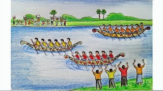 How to draw a scenery of Boat regatta Step by step (very easy)