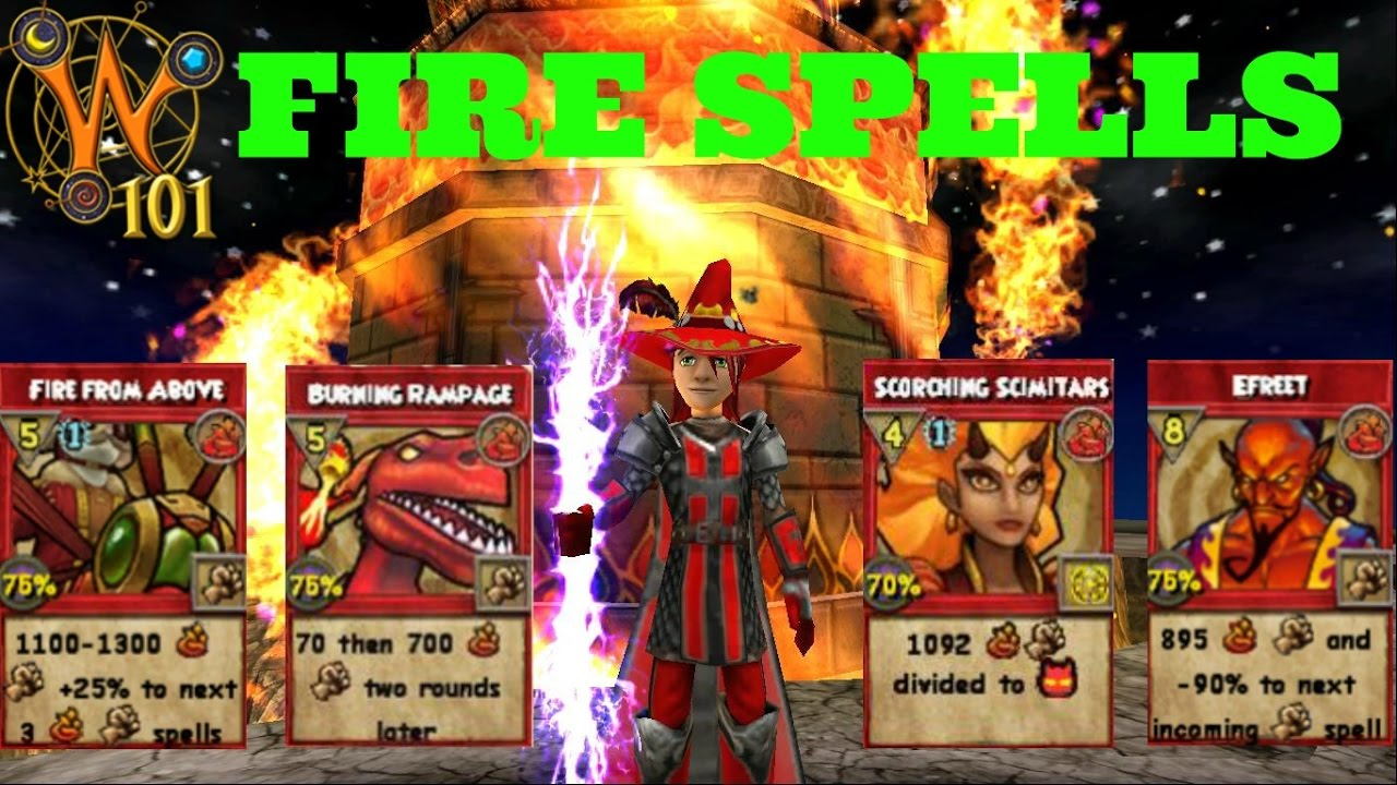 wizard101 all fire spells level 1 120 2017 youtube
