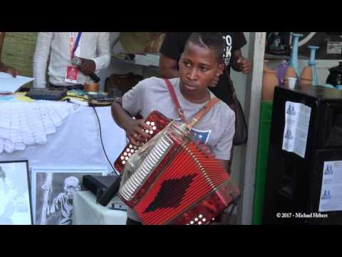 Boy Plays Accordion in Cape Verde, Africa