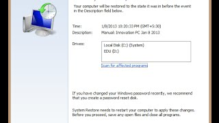 How to restore windows 8.1 to earlier date of time 2015 ( systrem recovery )