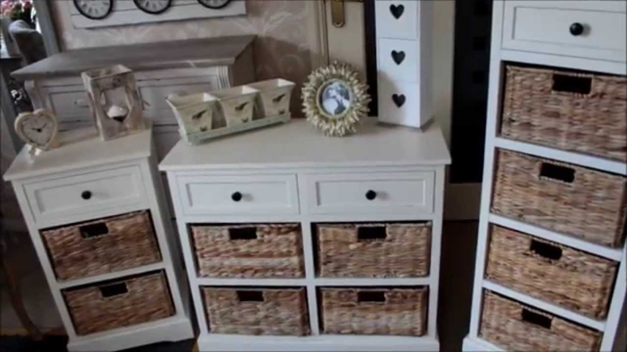 New Cream Wicker Storage Units Shabby Chic French Furniture Melodymaison You
