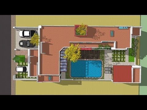 Plano de casa en forma de l proyecto de arquitectura for Casa moderna l