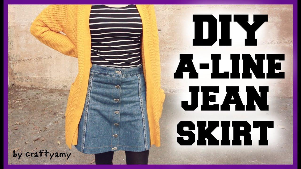 diy a line jean skirt transformation craftyamy