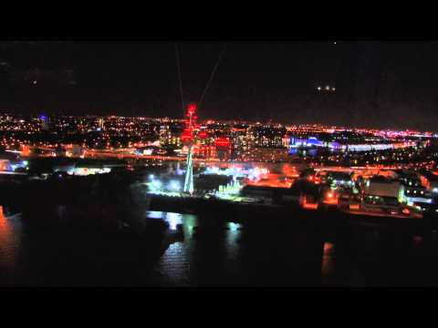 Emirates Air Line - lights of London at night