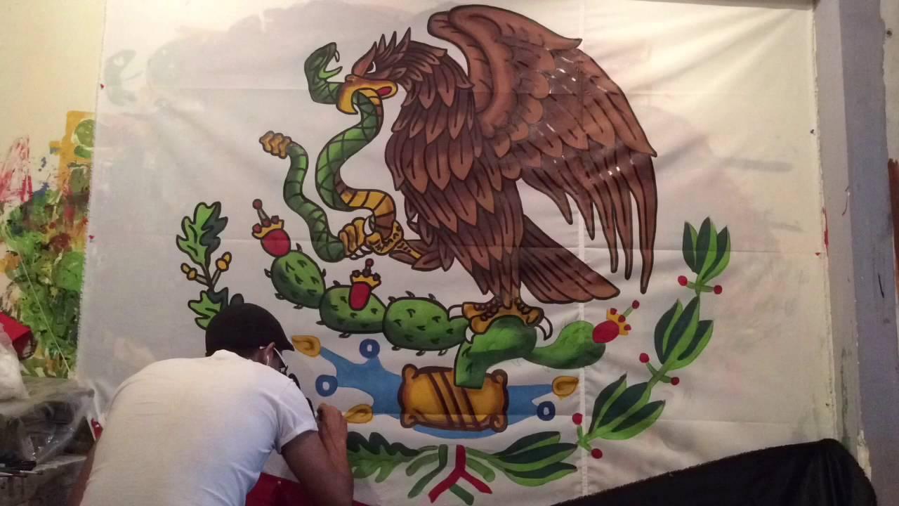 Bandera de México escudo pintado a mano YouTube