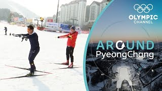Klaus Jungbluth teaches Nicklas Cross Country Skiing | Around PyeongChang