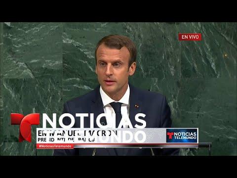 EN VIVO: Discurso del presidente Emmanuel Macron y Juan Manuel Santos en U.N | Noticiero | Telemundo