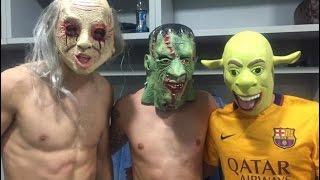 Jugadores del Barça disfrazados HALLOWEEN Getafe vs FC Barcelona 0 - 2 // 31/10/2015