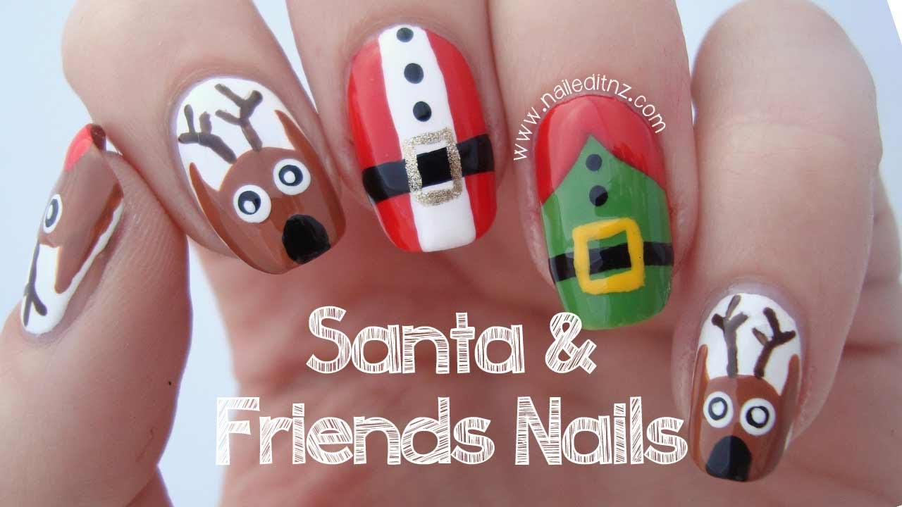 3 in 1 - Santa, Reindeer & Elf Nail Art Tutorial | MERRY CHRISTMAS ...
