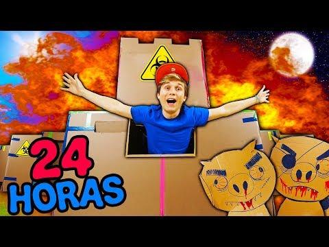 24 HORAS NO FORTE DE PAPELÃO ANTI-ZUMBIS ☆ FUI ATACADO DE NOITE ☆