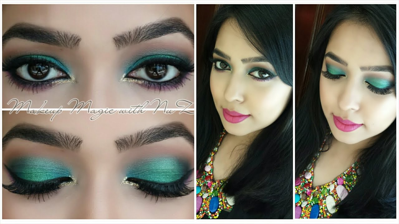 Spring/Summer Makeup ~ Turquoise Smokey Eye Tutorial - YouTube