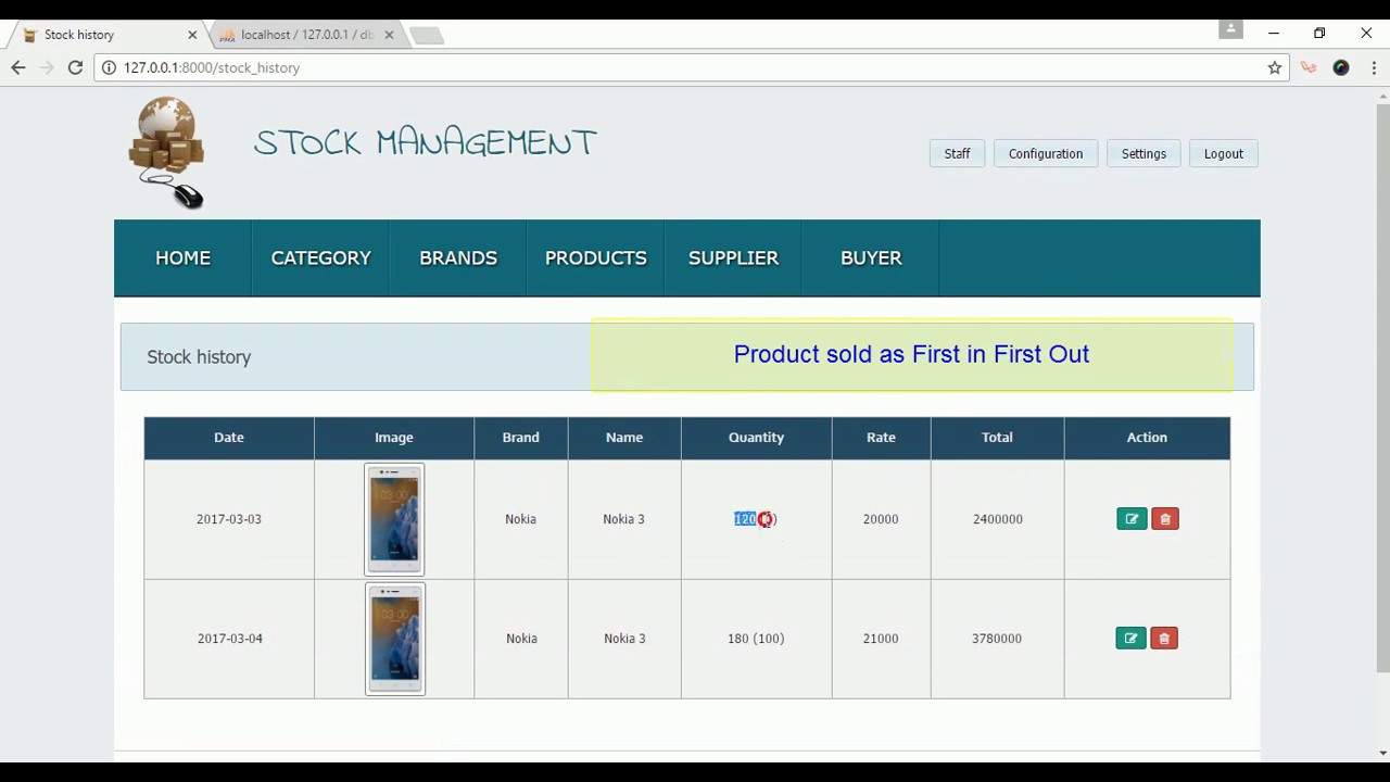 Laravel (PHP MYSQL) stock/Inventory management system/app
