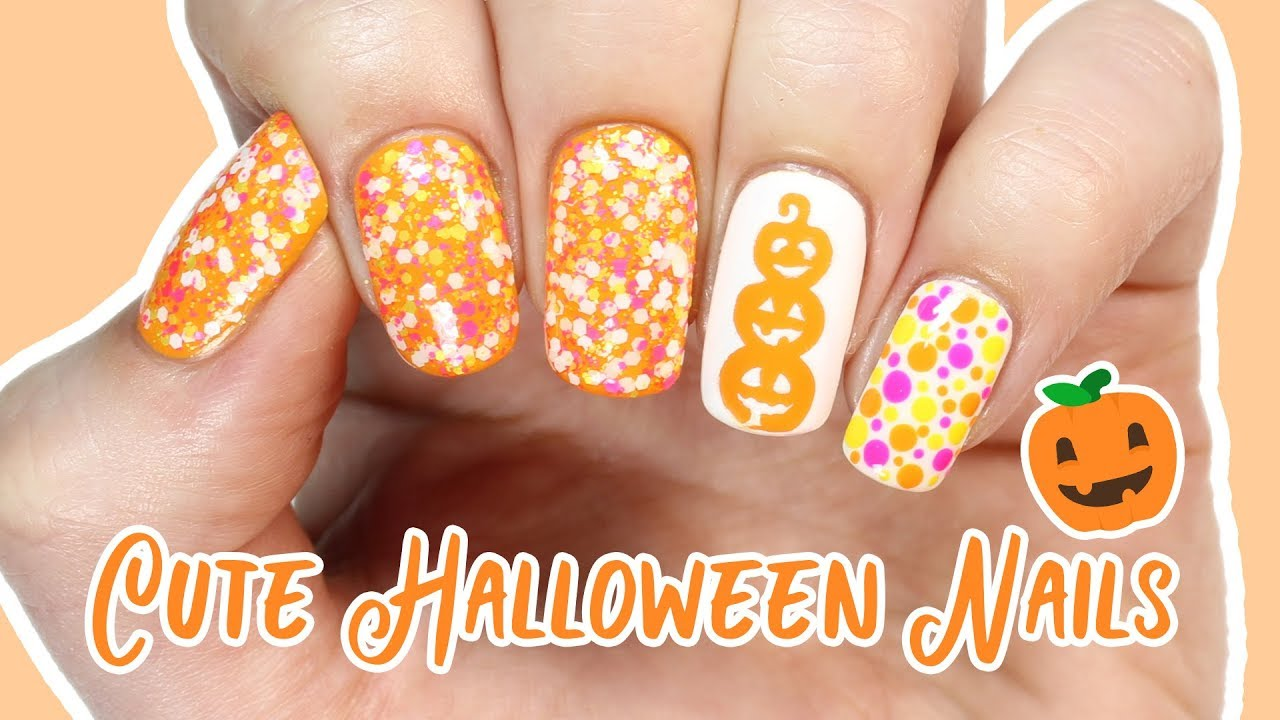 Cute and Easy Halloween Nails! - YouTube