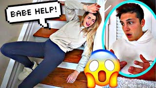 FALLING DOWN THE STAIRS PRANK ON FIANCE! *CUTE REACTION*